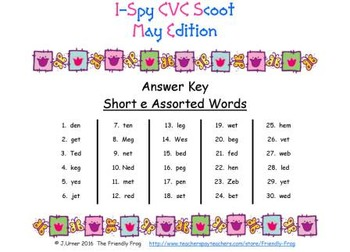 I-Spy CVC Scoot - Short /e/ Assorted Words (May Edition)