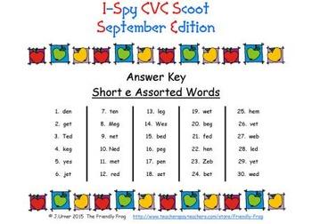 I-Spy CVC Scoot - Short /e/ Assorted Words (September Edition)
