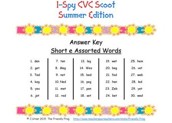 I-Spy CVC Scoot - Short /e/ Assorted Words (Summer Edition)