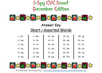 I-Spy CVC Scoot - Short /i/ Assorted Words (December Edition)