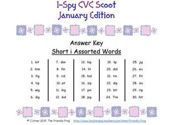I-Spy CVC Scoot - Short /i/ Assorted Words (January Edition)