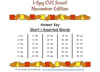 I-Spy CVC Scoot - Short /i/ Assorted Words (November Edition)