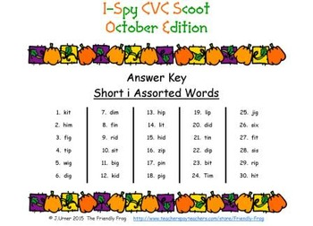 I-Spy CVC Scoot - Short /i/ Assorted Words (October Edition)