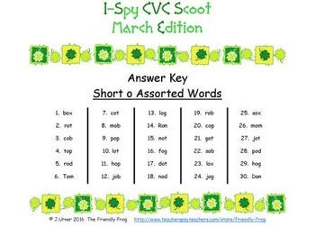 I-Spy CVC Scoot - Short /o/ Assorted Words (March Edition)