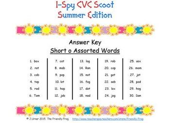 I-Spy CVC Scoot - Short /o/ Assorted Words (Summer Edition)