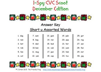 I-Spy CVC Scoot - Short /u/ Assorted Words (December Edition)