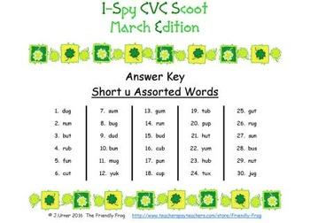 I-Spy CVC Scoot - Short /u/ Assorted Words (March Edition)