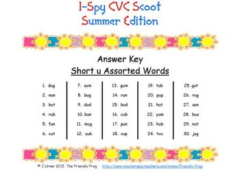 I-Spy CVC Scoot - Short /u/ Assorted Words (Summer Edition)