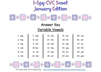 I-Spy CVC Scoot - Variable Vowel Words (January Edition)