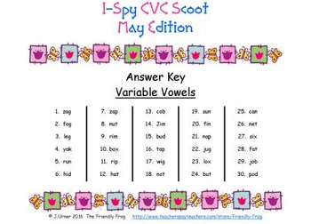 I-Spy CVC Scoot - Variable Vowel Words (May Edition)