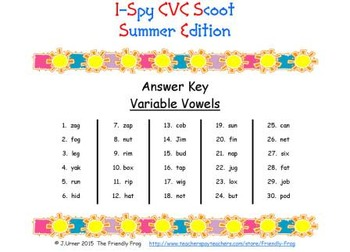 I-Spy CVC Scoot - Variable Vowel Words (Summer Edition)