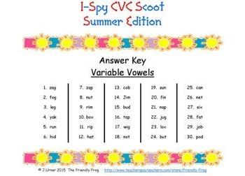 I-Spy CVC Scoot - Assorted Vowels Bundle (Summer Edition)