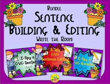 I-Spy CVC Sentence Building & Editing Bundle (April Edition) Variable Vowels