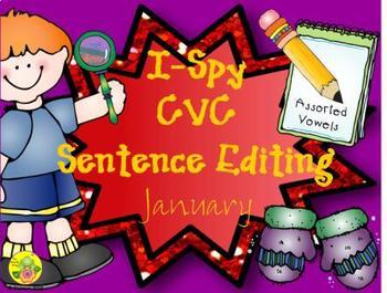 I-Spy CVC Sentence Editing - Assorted Vowels (January Edition)