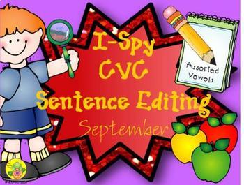 I-Spy CVC Sentence Editing - Assorted Vowels (September Edition)