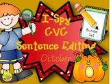 I-Spy CVC Sentence Editing Bundle (October Edition)