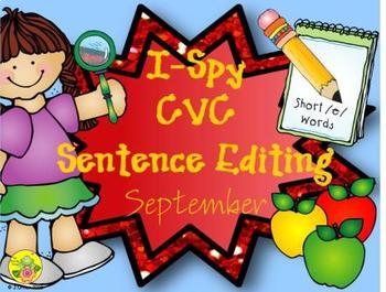 I-Spy CVC Sentence Editing - Short /e/ Words (September Edition)