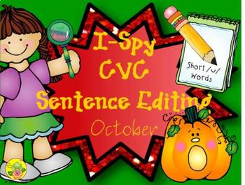 I-Spy CVC Sentence Editing - Short /u/ Words (October Edition)