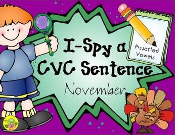 I-Spy CVC Sentences - Assorted Vowels (November Edition)