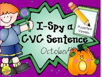 I-Spy CVC Sentences - Assorted Vowels (October Edition)