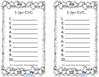 I-Spy CVC Learning Centers - Short /a/ Word Families (November Edition)