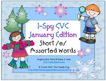 I-Spy CVC Learning Centers - Short /e/ Assorted Words (January Edition)