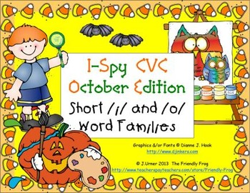 I-Spy CVC Learning Centers - Short /i/ & /o/ Word Families (October Edition)