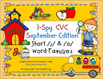 I-Spy CVC Learning Centers - Short /i/ & /o/ Word Families (September Edition)