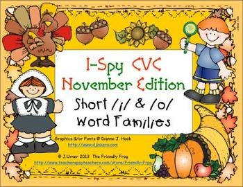 I-Spy CVC Learning Centers - Short /i/ & /o/ Word Families (November Edition)