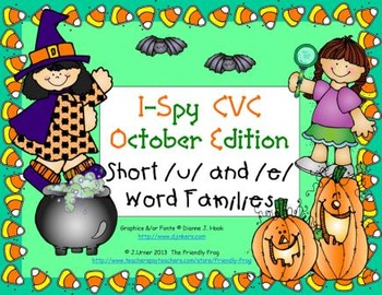 I-Spy CVC Learning Centers - Short /u/ & /e/ Word Families (October Edition)