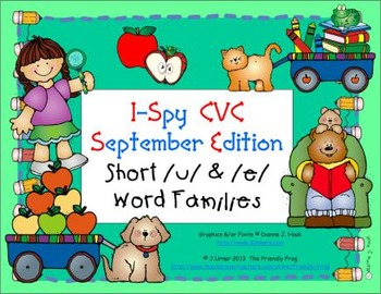 I-Spy CVC Learning Centers - Short /u/ & /e/ Word Families (September Edition)