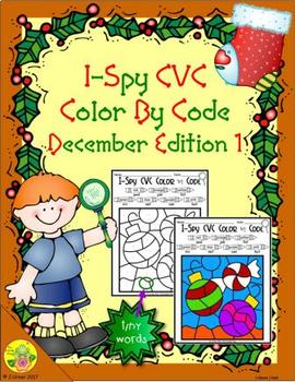 I-Spy CVC Tiny Words - Color by Code (December Edition) Set 1