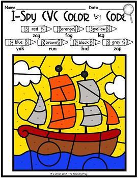I-Spy CVC Tiny Words - Color by Code (November Edition) Set 1