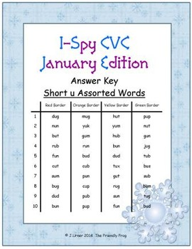 I-Spy CVC Tiny Words - Short /u/ Assorted Words (January Edition) Set 2