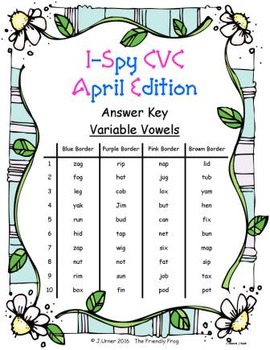 I-Spy CVC Tiny Words - Variable Vowel Words (April Edition) Set 2