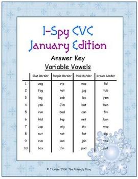 I-Spy CVC Tiny Words - Variable Vowel Words (January Edition) Set 2