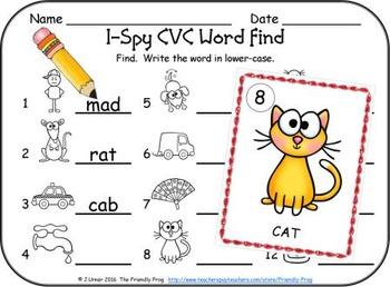 I-Spy CVC Vocabulary Building - Short /a/ Assorted Words