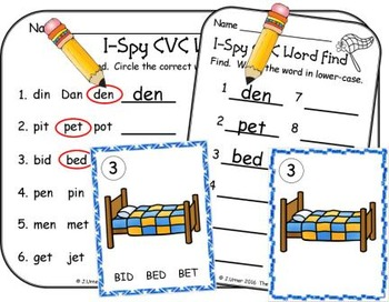 I-Spy CVC Vocabulary Building - Short /e/ Assorted Words