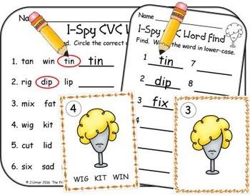 I-Spy CVC Vocabulary Building - Short /i/ Assorted Words