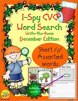 I-Spy CVC Word Search -- Short /i/ Assorted Words (December Edition)