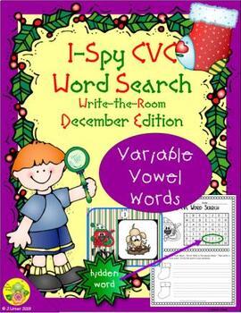 I-Spy CVC Word Search -- Variable Vowel Words (December Edition)