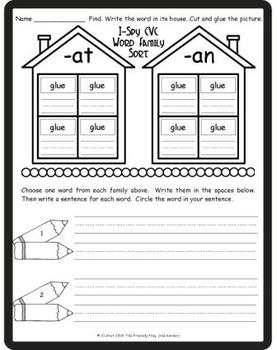I-Spy CVC Word Sorts -- Short /a/ Assorted Words (September Edition)