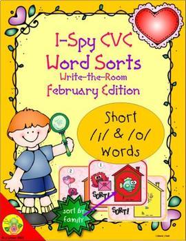 I-Spy CVC Word Sorts -- Short /i/ & /o/ Assorted Words (February Edition)