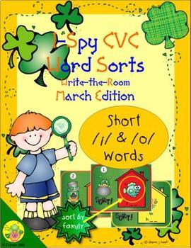 I-Spy CVC Word Sorts -- Short /i/ & /o/ Assorted Words (March Edition)