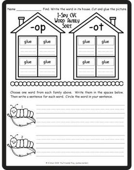 I-Spy CVC Word Sorts -- Short /i/ & /o/ Assorted Words (May Edition)