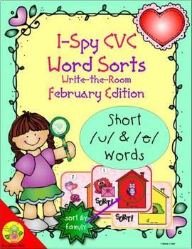 I-Spy CVC Word Sorts -- Short /u/ & /e/ Assorted Words (February Edition)