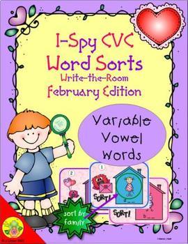 I-Spy CVC Word Sorts -- Variable Vowel Words (February Edition)