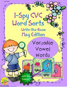 I-Spy CVC Word Sorts -- Variable Vowel Words (May Edition)