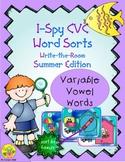 I-Spy CVC Word Sorts -- Variable Vowel Words (Summer Edition)