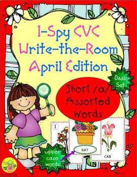 I-Spy CVC Word Work - Short /a/ Assorted Words (April Edition) Basic